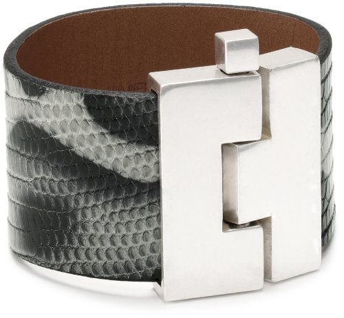Leighelena Black and White Lizard Wide Buckle Cuff Bracelet