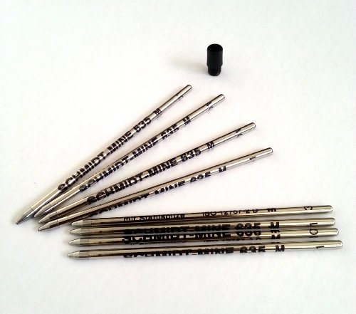 8 x Schmidt 635M Mini Ball Pen Refill - Black - (Lamy M21 and Cross 8518-4 Compatible)