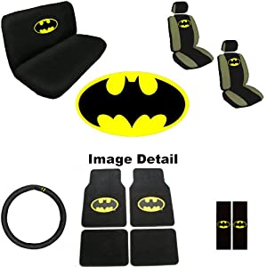 15pc batman logo auto accessories interior combo kit gift set automotive. Black Bedroom Furniture Sets. Home Design Ideas