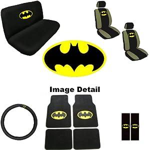 15pc batman logo auto accessories interior combo kit gift set automotive. Black Bedroom Furniture Sets. Home Design Ideas
