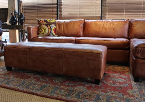 Phoenix 100% Full Aniline Leather Sectional Sofa with Chaise (Vintage Amaretto) 2