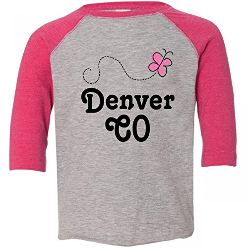 Inktastic Little Boys' Denver CO Pink Butterfly Toddler T-Shirt inktastic little boys live dream sand boarding toddler t shirt
