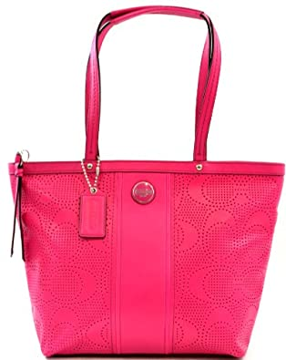 Coach Signature Stripe Perforated Leather Tote Purse Shoulder Bag, Pink Watermelon