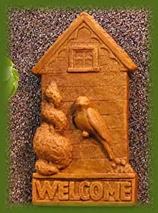 WELCOME Sign BIRD Spring WALL PLAQUE Fence Hanging COPPER PATINA Finish OUTDOOR Indoor GARDEN Statuary CAST CEMENT Made in the USA