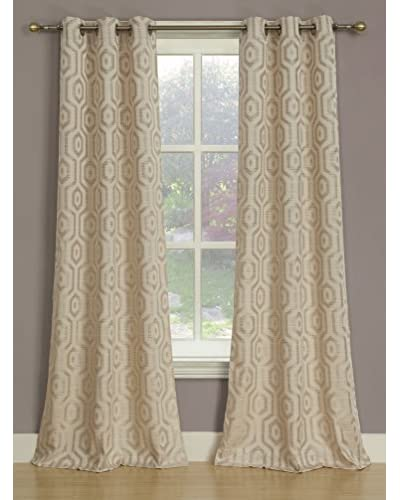 Beatrice Home Fashions Set of 2 Melbourne Curtain Panels, Ivory