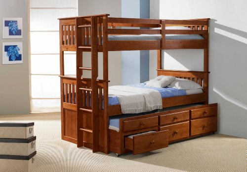 twintwin captains bunk bed with trundle and storage drawers creamy espresso finish. Black Bedroom Furniture Sets. Home Design Ideas