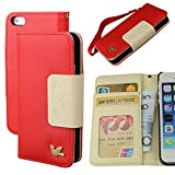 Case for Iphone 5s,Case for Iphone 5, By HiLDA,Wallet Case,PU Leather Case,Cut,Credit Card Holder,Flip Cover Skin,(Red)