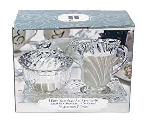 Housewares International 4-Piece Beveled Glass Cream and Sugar Serving Set, with Lid and... by International Housewares Corp