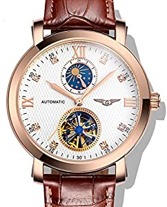Fanmis Business Waterproof Moon Phase Automatic Mechanical Men Watch Brown Leather Strap Rose Gold