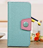 myLife Celeste Blue and Light Pink {Solid Colors and Button Design} Faux Leather (Card, Cash and ID Holder + Magnetic Closing) Slim Wallet for the iPhone 5C Smartphone by Apple (External Textured Synthetic Leather with Magnetic Clip + Internal Secure Snap In Hard Rubberized Bumper Holder)