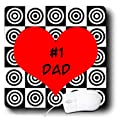 3dRose LLC 8 x 8 x 0.25 Inches Mouse Pad, No.1 Dad Design Red (mp_6146_1)
