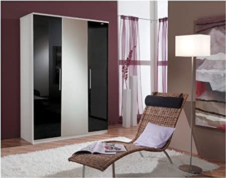 Berlin 3 Door Wardrobe Black Gloss and Alpine White (139482) - UK ONLY