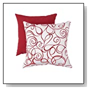 Pillow Perfect Decorative Scroll Square Toss Pillow, Red/White