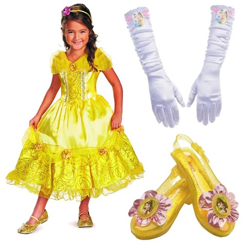 Disney Belle Deluxe Costume X-Small (3T-4T) Including Gloves and Sparkle Shoes