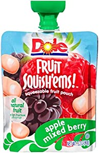 Dole Fruit Squish'ems, Apple Mixed Berry, 12.8 Ounce Boxes, 4 Count Pouches (Pack of 8)