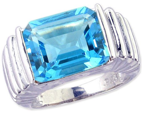 Ribbed Detail Sterling Silver Cocktail Ring with Large Octagon Genuine Gemstone-Swiss Blue Topaz-in full,half,quarter sizes from 5 to 9_6.75