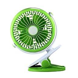 Generic Rechargeable Stepless Speed Clip Fan USB Desk Fan Green