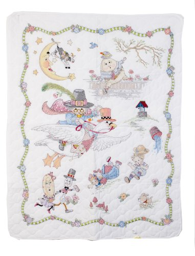 Sale!! Bucilla Mary Engelbreit Mother Goose Crib Cover Stamped Cross Stitch, 34-Inches-by-43-Inches