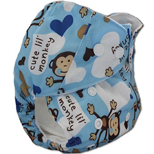 Happy Flute Blue Monkey Printed One Size Pocket Printed Diapers - 1