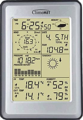 ClimeMET CM2000 Professional Weather Station with Outdoor temperature and humidity sensor, Rain Gauge as well as measuring Wind Speed and direction - Comes with a Free Edition of Easy Weather Software. Perfect gift for any Weather Enthusiast