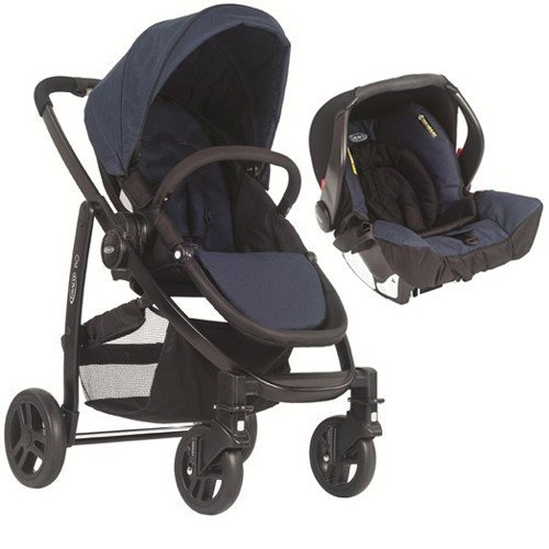 Graco Evo 2in1 Travel System - Navy Complete With SnugSafe Carseat, Footmuff And Raincover