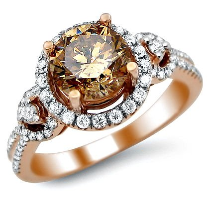 1.92ct Fancy Brown Round Diamond Engagement Ring