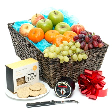 fruit basket with cheese and crackers