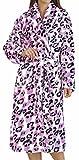 Ladies Luxury Soft Fleece Medium Pink Leopard Print Bath Robe Dressing Gown House Coat