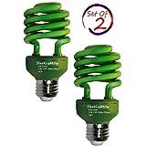 SleekLighting 23 Watt T2 Green Light Spiral CFL Light Bulb, 120V, E26 Medium Base-Energy Saver (Pack of 2)