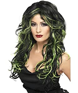 Gothicperücke Perücke Gothic Schwarz Grün Grüne Strähnen Damenperücke für Damen Halloween Halloweenperücke Langhaarperücke Lang Haar Langhaar