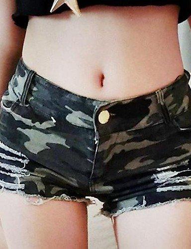 ZY/ Donna Club a vita alta Pantaloncini Camouflage Jeans Mostra Thin Hot Pants , green-l , green-l
