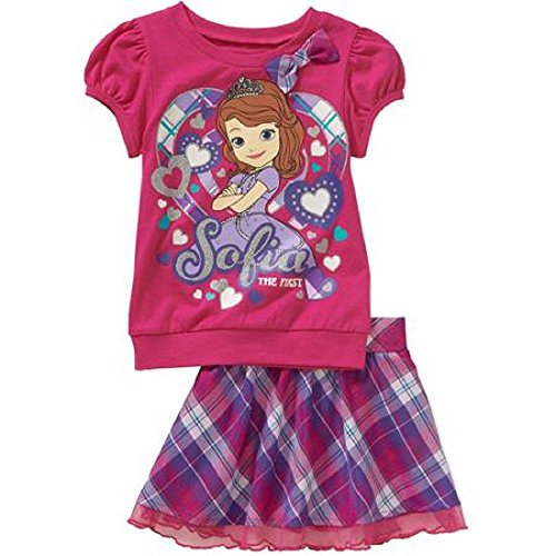 Sofia the First Princess Baby Toddler Girl Tee and Skirt Outfit Set (4t)