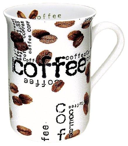 Konitz Coffee Collage 10-Ounce Mugs, Set of 4, White