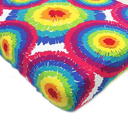 One Grace Place Terrific Tie Dye Tie Dye Crib Sheet, Aqua Blue, Royal Blue, Purple, Yellow, Green, Orange, Pink, Red and White - 1