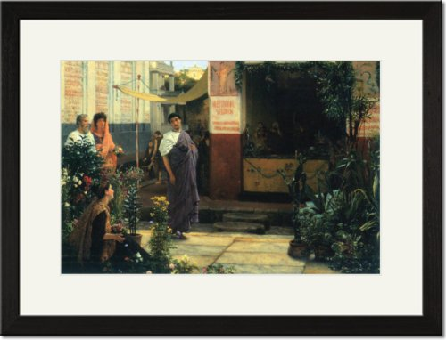 Black Framed/Matted Print 17x23, The Flower Market
