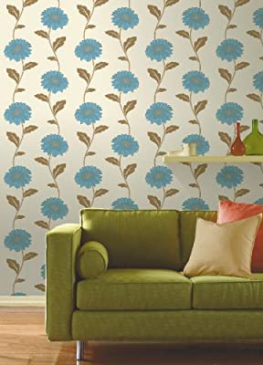 Gerbera Floral Print Luxury Vinyl Wallpaper Natural Flower Leaf