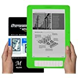 Amazon Kindle DX 9.7 inch E-Book Reader (GREEN) Silicone Skin Rubber Case + LCD Screen Protector ~ MyGift