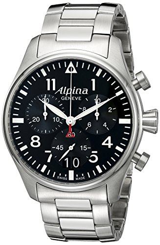 Alpina-Mens-AL-372B4S6B-Startimer-Pilot-Chronograph-Big-Date-Analog-Display-Swiss-Quartz-Silver-Tone-Watch