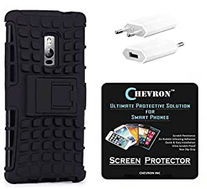 Chevron Hybrid Military Grade Armor Kick Stand Back Cover Case for OnePlus 2 with HD Screen Guard & USB Mobile Wall Charger (Black)