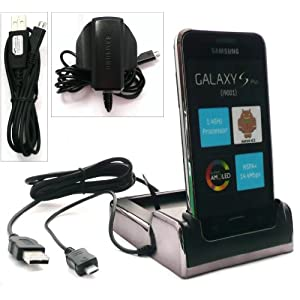 FLASH SUPERSTORE POWER PACK FOR SAMSUNG I9001 GALAXY S PLUS INCLUDES COMPATIBLE CHROME TWIN DESKTOP DOCKING STATION CRADLE CHARGER ( HANDSET AND SPARE BATTERY CAN BE CHARGED AT THE SAME TIME ) + ORIGINAL MICRO USB 3 PIN MAINS CHARGER + ORIGINAL MICRO USB DATA AND CHARGE CABLE