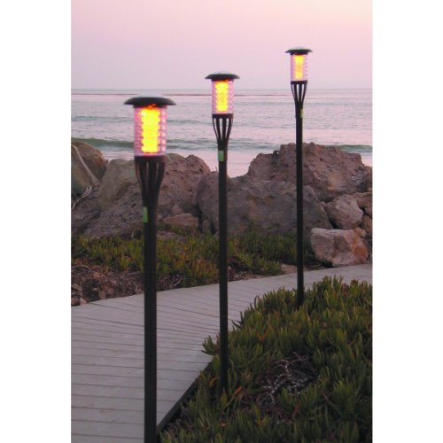 Best Buy! Solar Tiki Torch Light with Flickering Amber LED 4-Pack