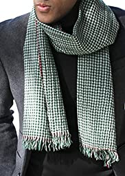 Men\'s London Green Houndstooth Scarf, Super Soft Wool (Green Houndstooth)