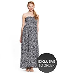 M&S Collection Halterneck Brushstroke Maxi Dress