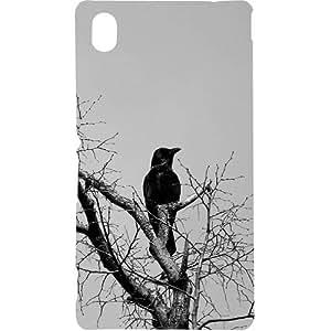 Casotec Black Crow Pattern Print Design Hard Back Case Cover for Sony Xperia M4 Aqua