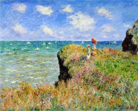 oil-painting-walk-on-the-cliff-at-pourville-1882-by-claude-monet-20-x-25-inch-51-x-63-cm-on-high-def