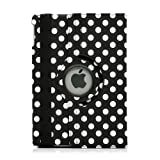 Gearonic 360 Degree Rotating PU Leather Case Cover with Swivel Stand for Apple iPad Air - Black Polka Dot