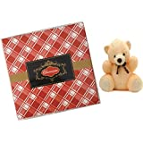 Stylish 50gms Chocolate Check Red Box With A Cute Teddy- Dry Fruit Collection