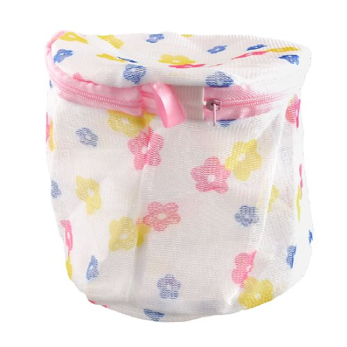 Laundry Floral Print Nylon Mesh Underwear Bra Washing Bag White back-166523
