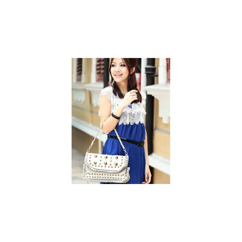 Faux PU Leather Purse Shoulder Bag Handbag Messenger Sling Metallic Chain Dense Rivet Punk Women Fashion Lady Beige White 170352