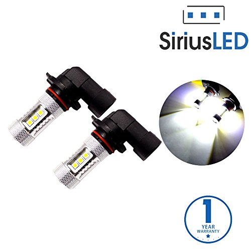 SiriusLED Extremely Bright 80W High Power Projector LED Bulbs for Car Fog Lights Daytime Running DRL Driving 9005 9145 HB3 H10 6500K White (Amber Fog Lights 9006 compare prices)
